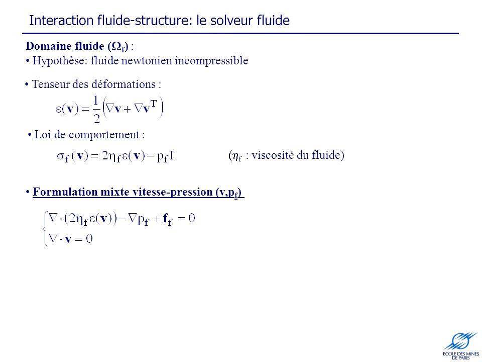 Interaction fluide-structure: le solveur fluide Domaine fluide ( f ) : Hypothèse: fluide newtonien incompressible Formulation mixte vitesse-pression (v,p f ) Loi de comportement : f : viscosité du fluide) Tenseur des déformations :
