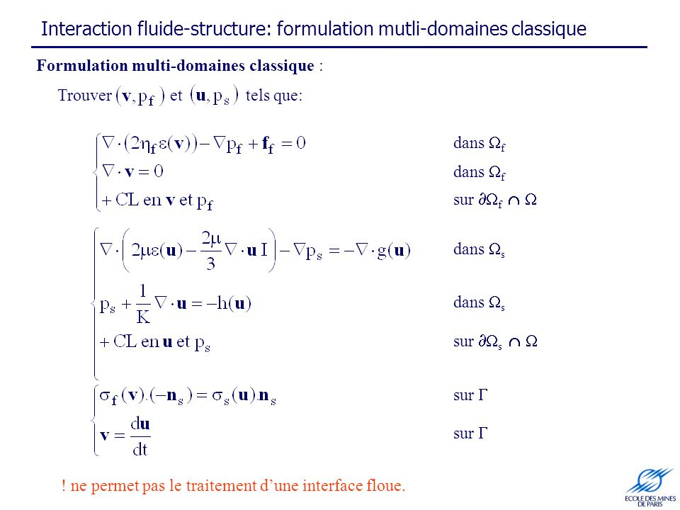 Interaction fluide-structure: formulation mutli-domaines classique Formulation multi-domaines classique : dans f sur f dans f dans s sur s sur Trouver
