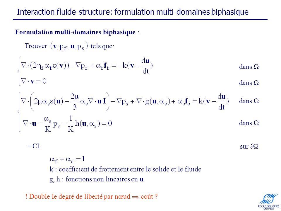k : coefficient de frottement entre le solide et le fluide Formulation multi-domaines biphasique : + CL ! Double le degré de liberté par nœud coût ? T