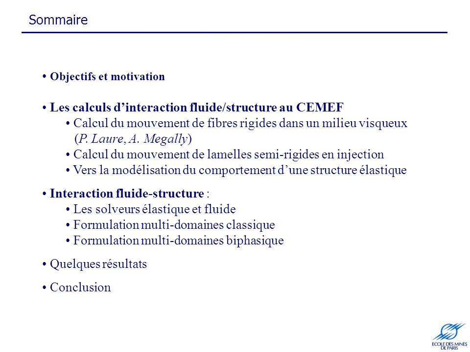 Objectifs et motivation Les calculs dinteraction fluide/structure au CEMEF Calcul du mouvement de fibres rigides dans un milieu visqueux (P. Laure, A.