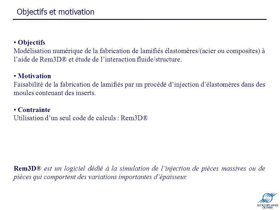 Objectifs et motivation Objectifs Modélisation numérique de la fabrication de lamifiés élastomères/(acier ou composites) à laide de Rem3D® et étude de