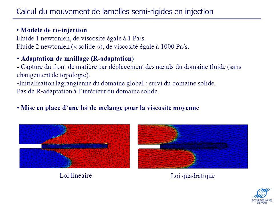 Modèle de co-injection Fluide 1 newtonien, de viscosité égale à 1 Pa/s. Fluide 2 newtonien (« solide »), de viscosité égale à 1000 Pa/s. Adaptation de