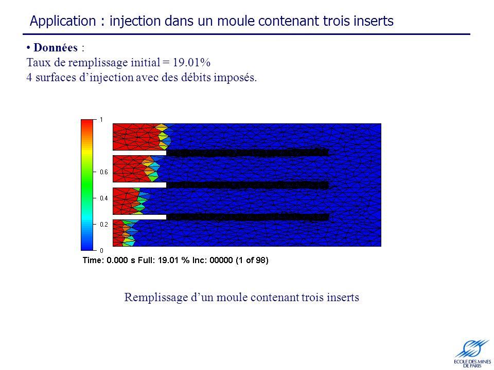 Application : injection dans un moule contenant trois inserts Remplissage dun moule contenant trois inserts Données : Taux de remplissage initial = 19