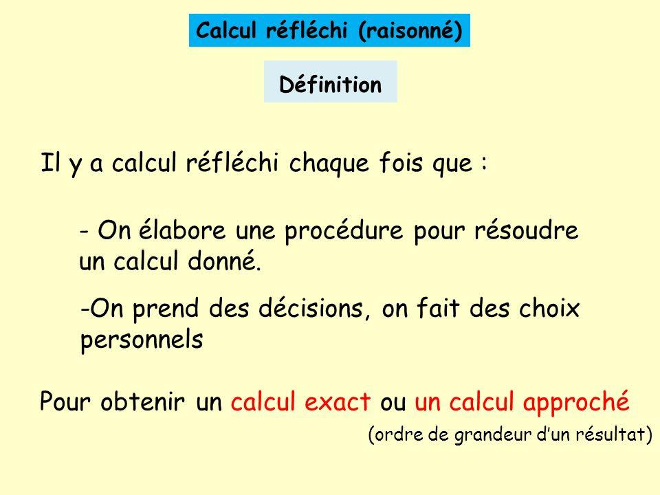 Calcul réfléchi (raisonné) Définition -On prend des décisions, on fait des choix personnels Il y a calcul réfléchi chaque fois que : - On élabore une procédure pour résoudre un calcul donné.