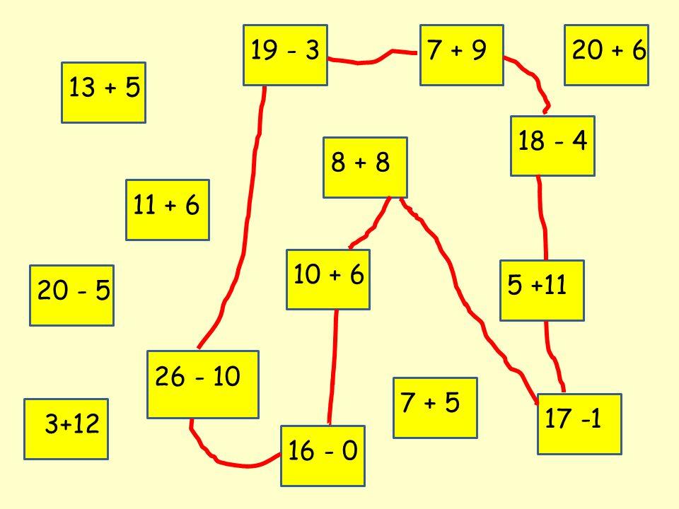 13 + 5 11 + 6 19 - 3 8 + 8 20 - 5 10 + 6 26 - 10 5 +11 7 + 5 7 + 9 17 -1 18 - 4 3+12 20 + 6 16 - 0