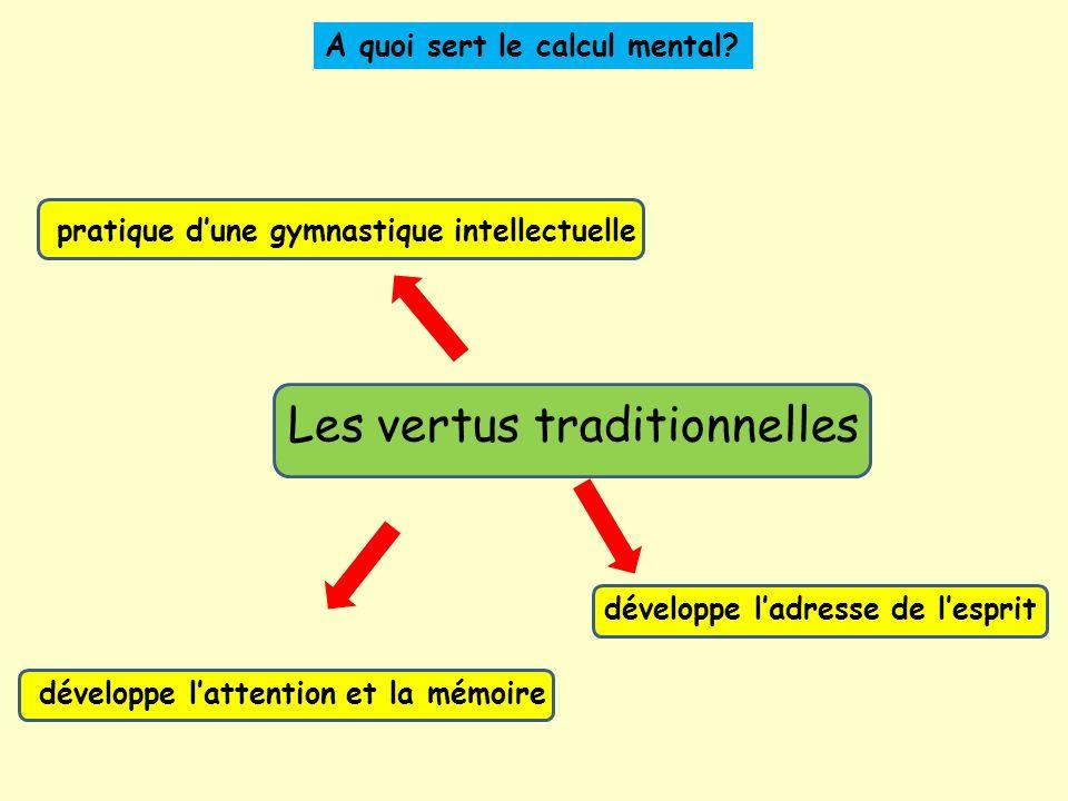Les vertus traditionnelles A quoi sert le calcul mental.