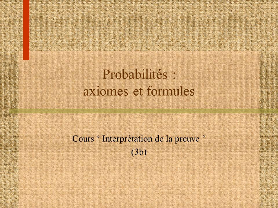 Probabilités : axiomes et formules Cours Interprétation de la preuve (3b)