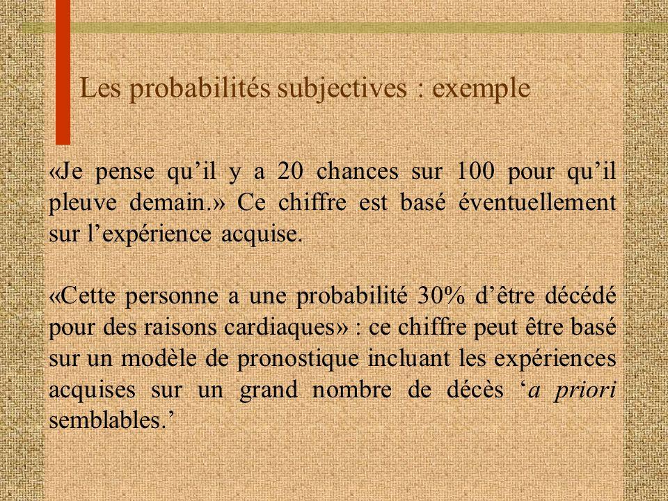 Les probabilités subjectives : exemple «Je pense quil y a 20 chances sur 100 pour quil pleuve demain.» Ce chiffre est basé éventuellement sur lexpérie