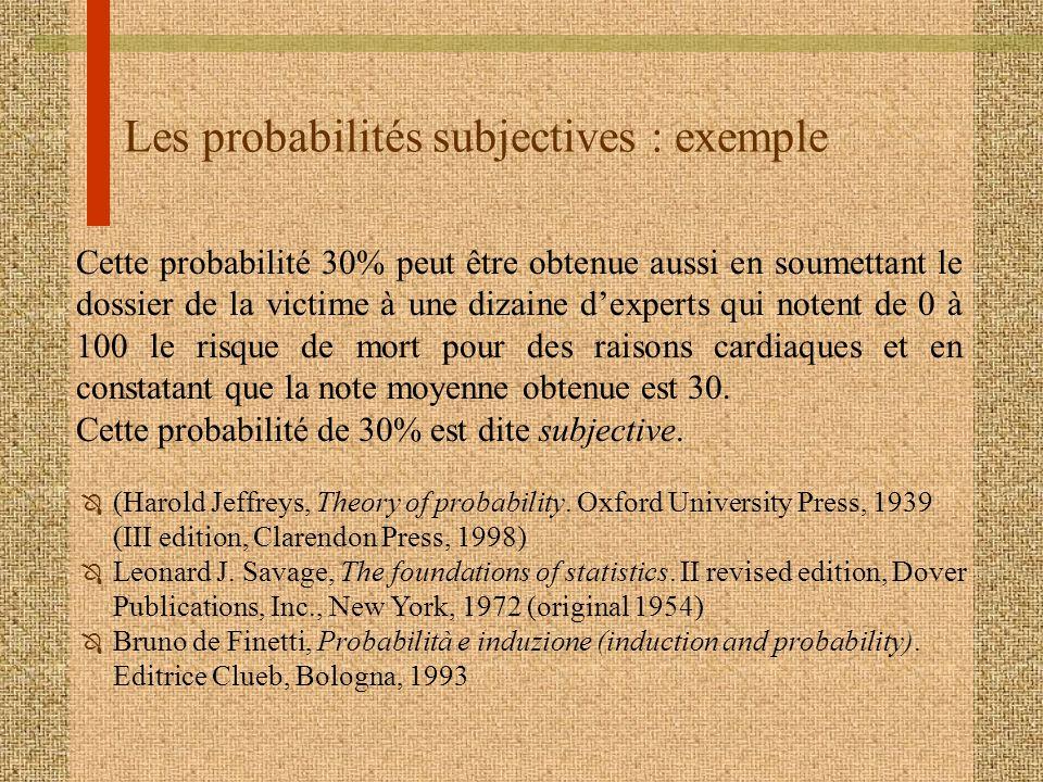 Les probabilités subjectives : exemple Cette probabilité 30% peut être obtenue aussi en soumettant le dossier de la victime à une dizaine dexperts qui