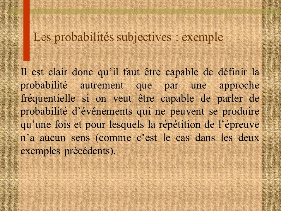 Les probabilités subjectives : exemple Il est clair donc quil faut être capable de définir la probabilité autrement que par une approche fréquentielle