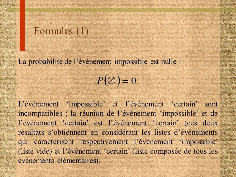Formules (1) La probabilité de lévénement impossible est nulle : Lévénement impossible et lévénement certain sont incompatibles ; la réunion de lévéne
