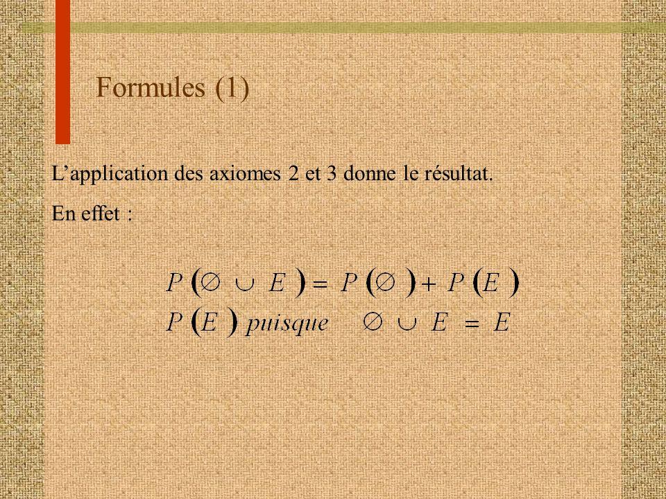 Formules (1) Lapplication des axiomes 2 et 3 donne le résultat. En effet :