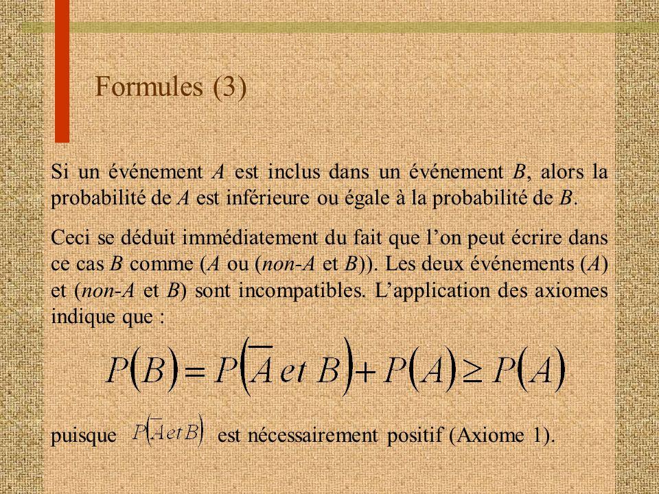 Formules (3) Si un événement A est inclus dans un événement B, alors la probabilité de A est inférieure ou égale à la probabilité de B. Ceci se déduit