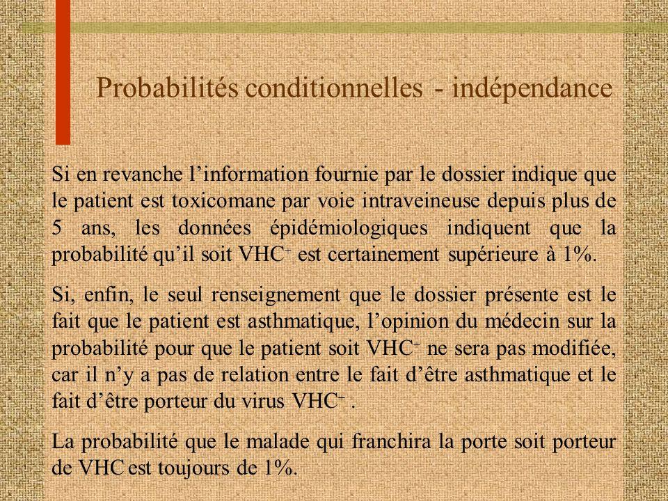 Probabilités conditionnelles - indépendance Si en revanche linformation fournie par le dossier indique que le patient est toxicomane par voie intravei