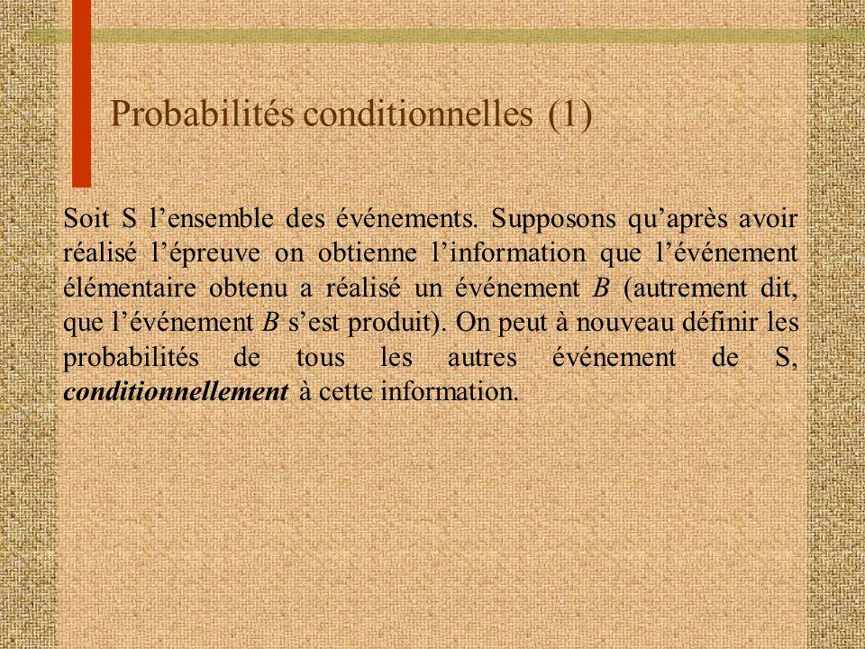 Probabilités conditionnelles (1) Soit S lensemble des événements. Supposons quaprès avoir réalisé lépreuve on obtienne linformation que lévénement élé