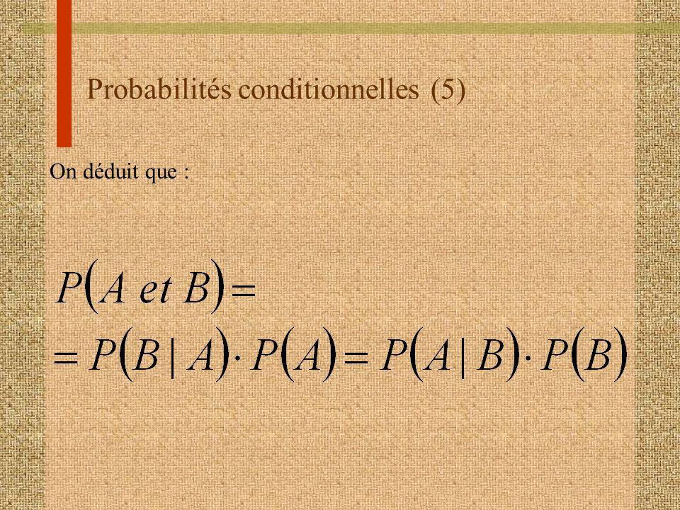 Probabilités conditionnelles (5) On déduit que :