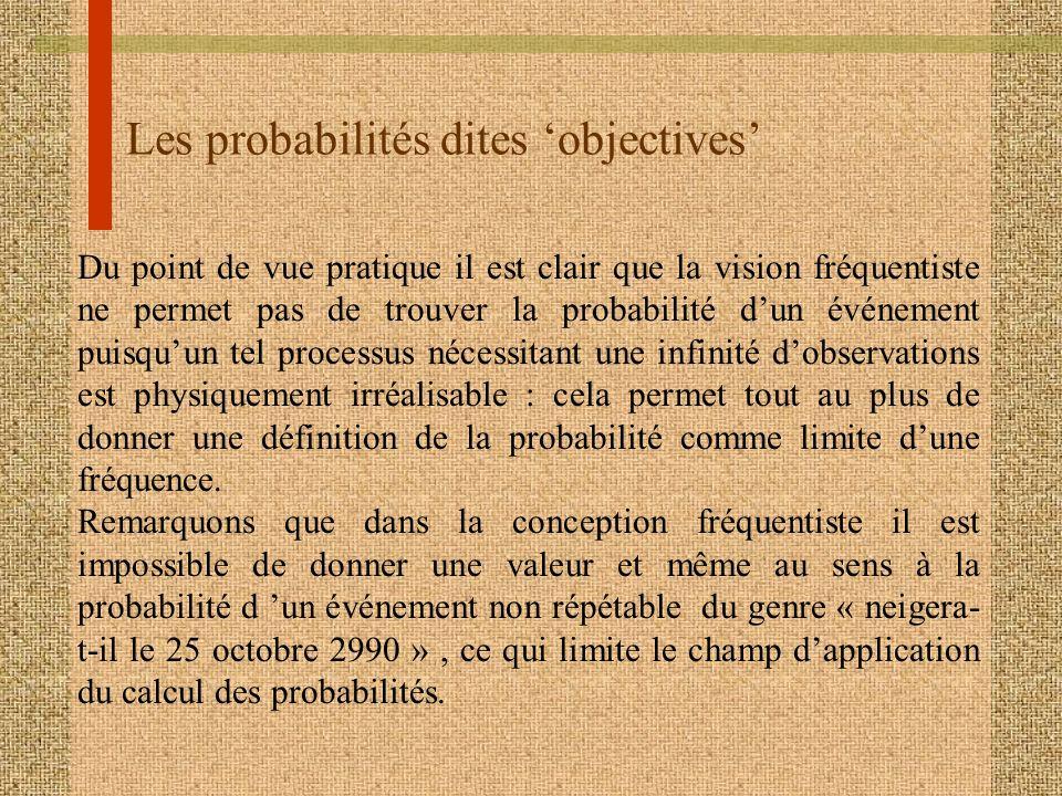 Les probabilités dites objectives Du point de vue pratique il est clair que la vision fréquentiste ne permet pas de trouver la probabilité dun événeme