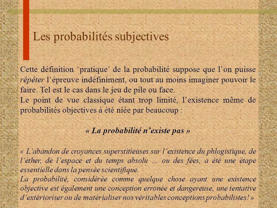 Les probabilités subjectives Cette définition pratique de la probabilité suppose que lon puisse répéter lépreuve indéfiniment, ou tout au moins imagin