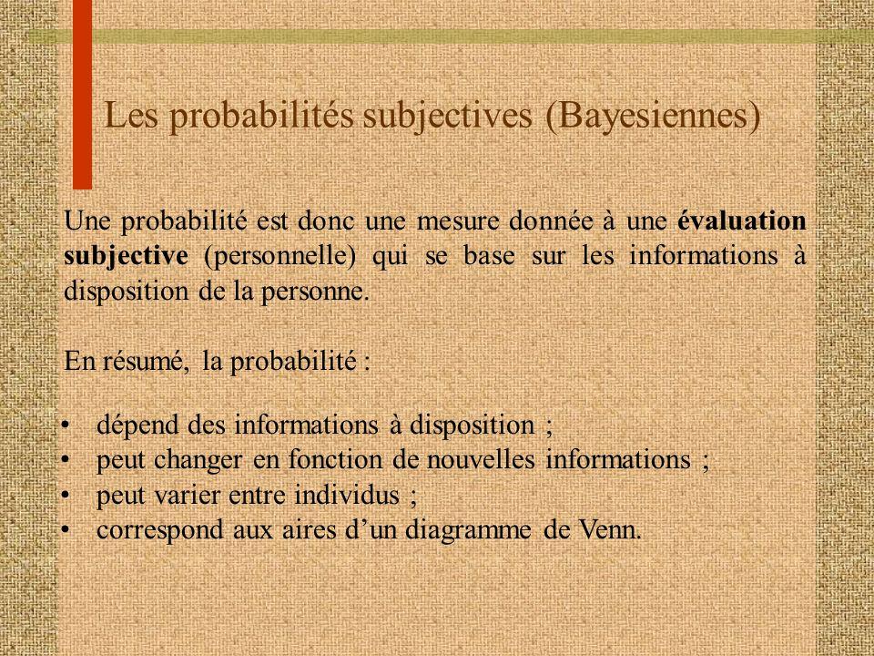 Les probabilités subjectives (Bayesiennes) Une probabilité est donc une mesure donnée à une évaluation subjective (personnelle) qui se base sur les in