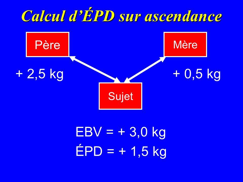 Calcul dÉPD sur ascendance + 2,5 kg+ 0,5 kg EBV = + 3,0 kg ÉPD = + 1,5 kg Père Mère Sujet