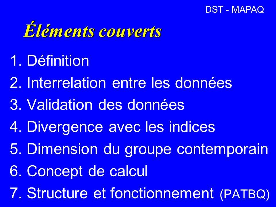 Éléments couverts 1.Définition 2. Interrelation entre les données 3.