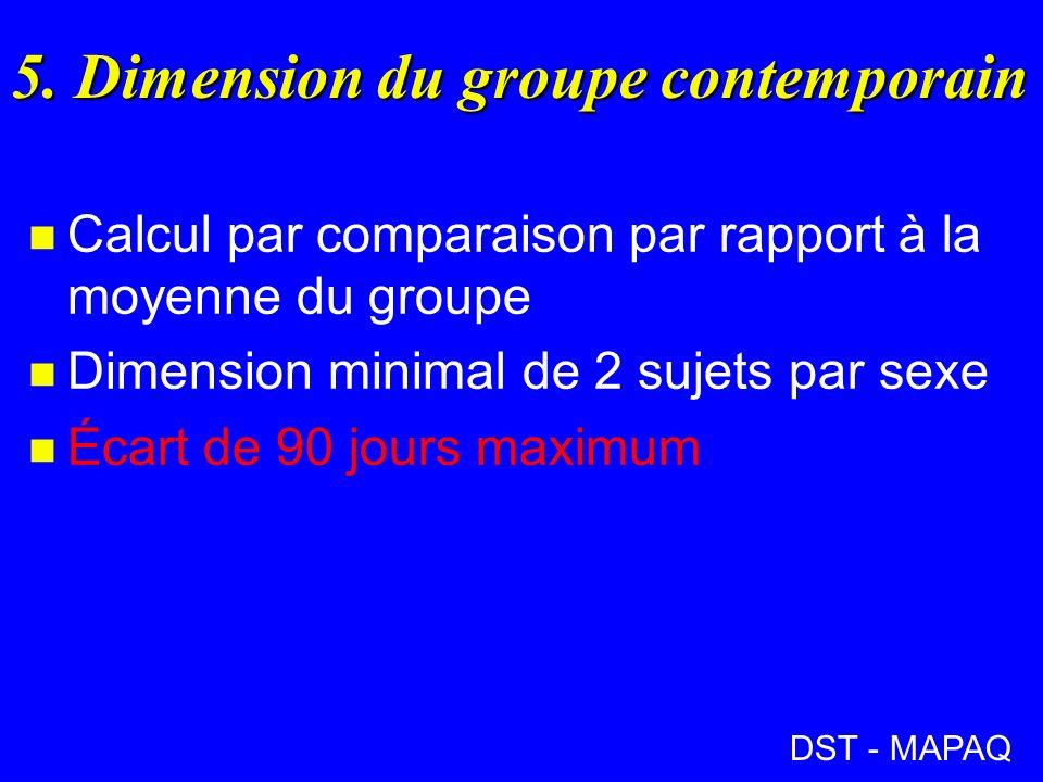 5. Dimension du groupe contemporain n Calcul par comparaison par rapport à la moyenne du groupe n Dimension minimal de 2 sujets par sexe n Écart de 90