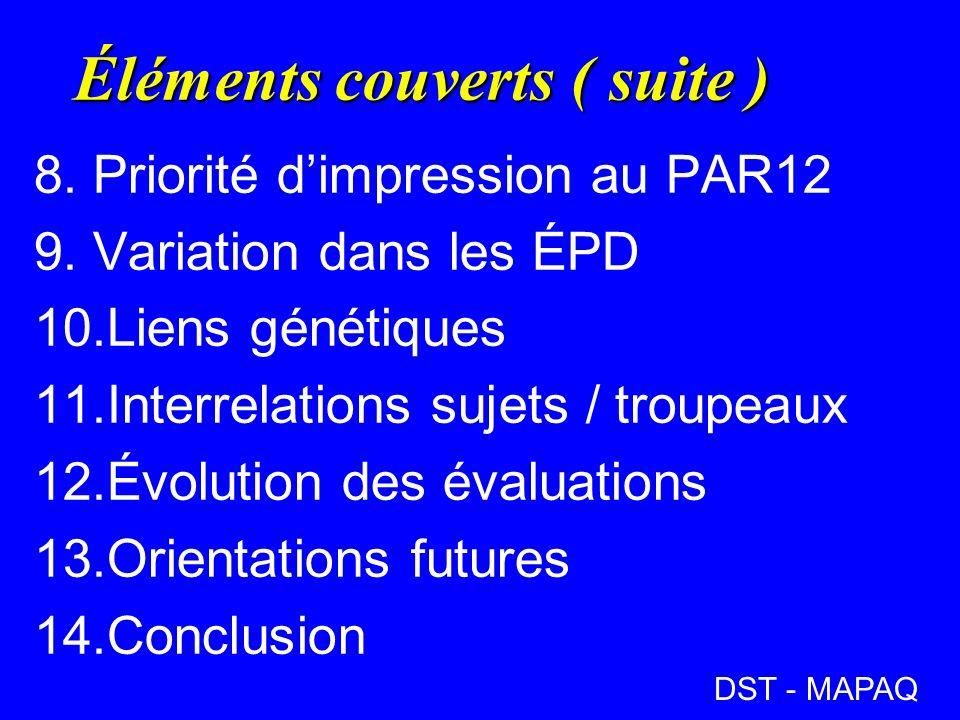Éléments couverts ( suite ) 8.Priorité dimpression au PAR12 9.