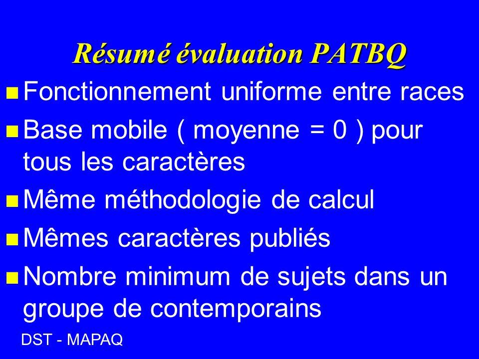 Résumé évaluation PATBQ n Fonctionnement uniforme entre races n Base mobile ( moyenne = 0 ) pour tous les caractères n Même méthodologie de calcul n Mêmes caractères publiés n Nombre minimum de sujets dans un groupe de contemporains