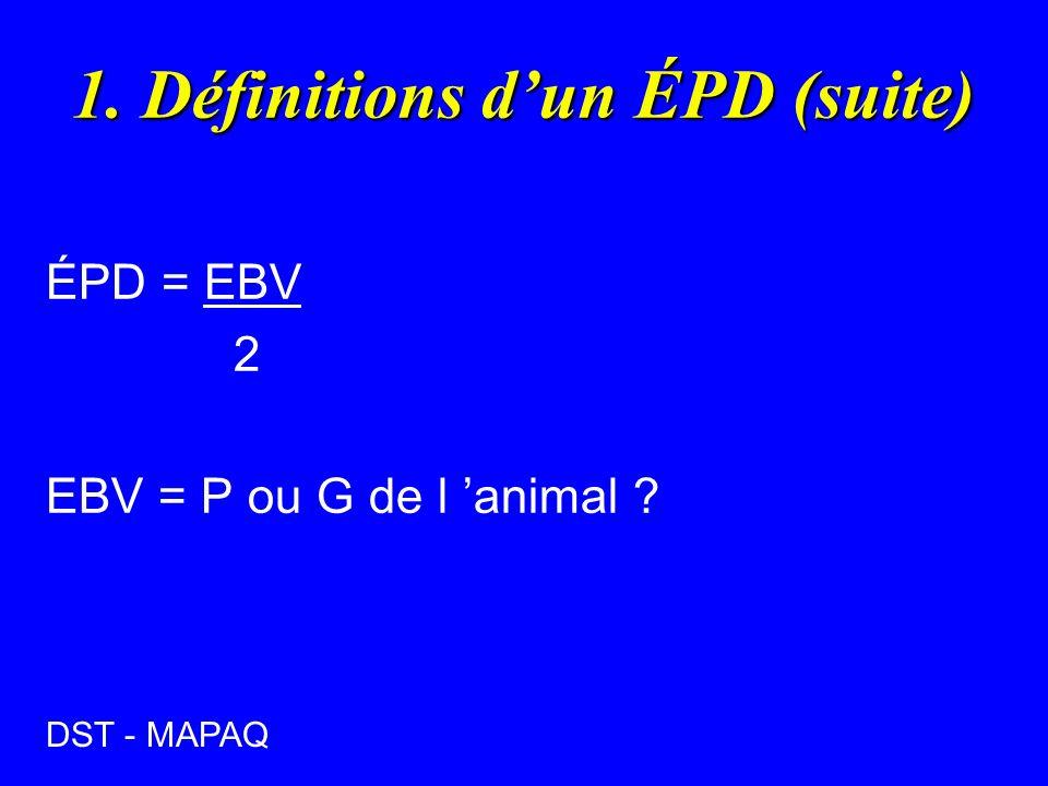 1. Définitions dun ÉPD (suite) ÉPD = EBV 2 EBV = P ou G de l animal ? DST - MAPAQ