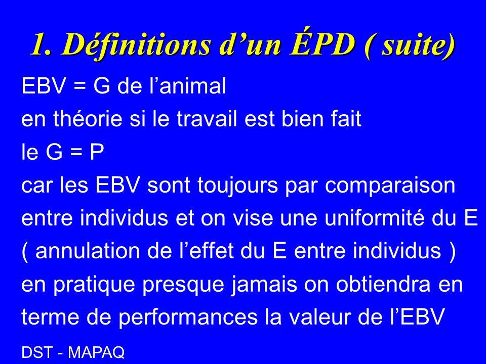 1. Définitions dun ÉPD ( suite) EBV = G de lanimal en théorie si le travail est bien fait le G = P car les EBV sont toujours par comparaison entre ind