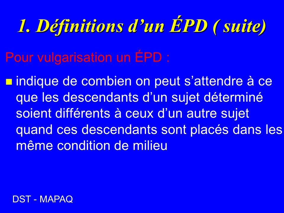 1. Définitions dun ÉPD ( suite) Pour vulgarisation un ÉPD : n indique de combien on peut sattendre à ce que les descendants dun sujet déterminé soient