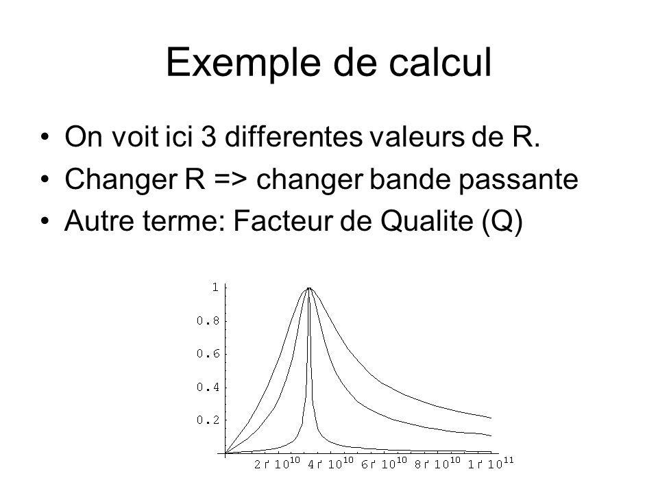 Exemple de calcul On voit ici 3 differentes valeurs de R. Changer R => changer bande passante Autre terme: Facteur de Qualite (Q)