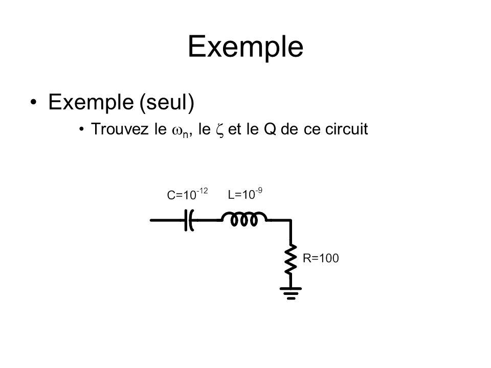 Exemple Exemple (seul) Trouvez le n, le et le Q de ce circuit