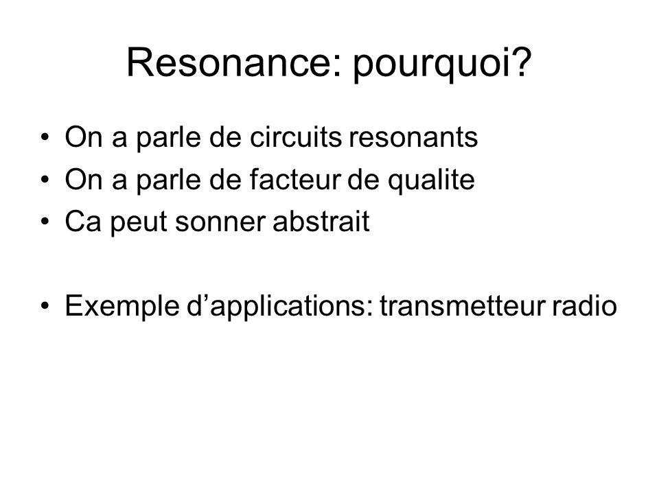Resonance: pourquoi? On a parle de circuits resonants On a parle de facteur de qualite Ca peut sonner abstrait Exemple dapplications: transmetteur rad