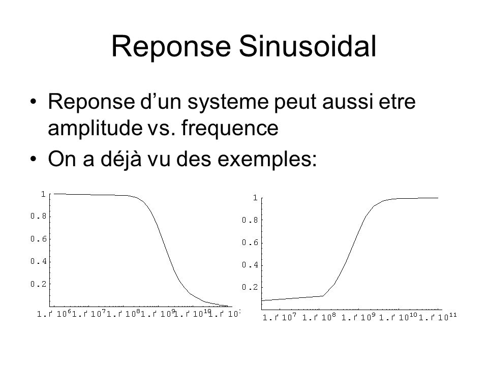 Reponse Sinusoidal Reponse dun systeme peut aussi etre amplitude vs. frequence On a déjà vu des exemples: