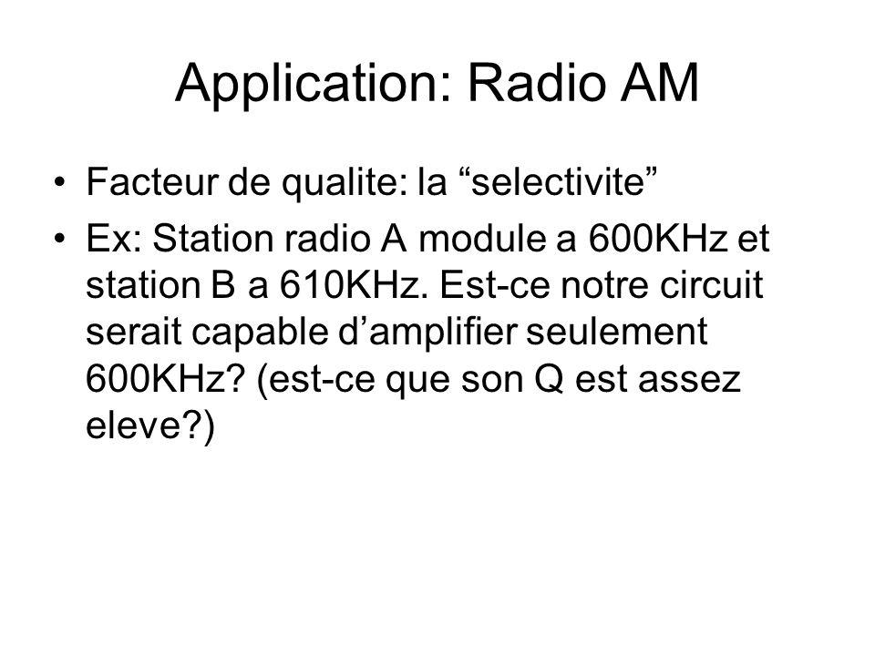 Application: Radio AM Facteur de qualite: la selectivite Ex: Station radio A module a 600KHz et station B a 610KHz. Est-ce notre circuit serait capabl