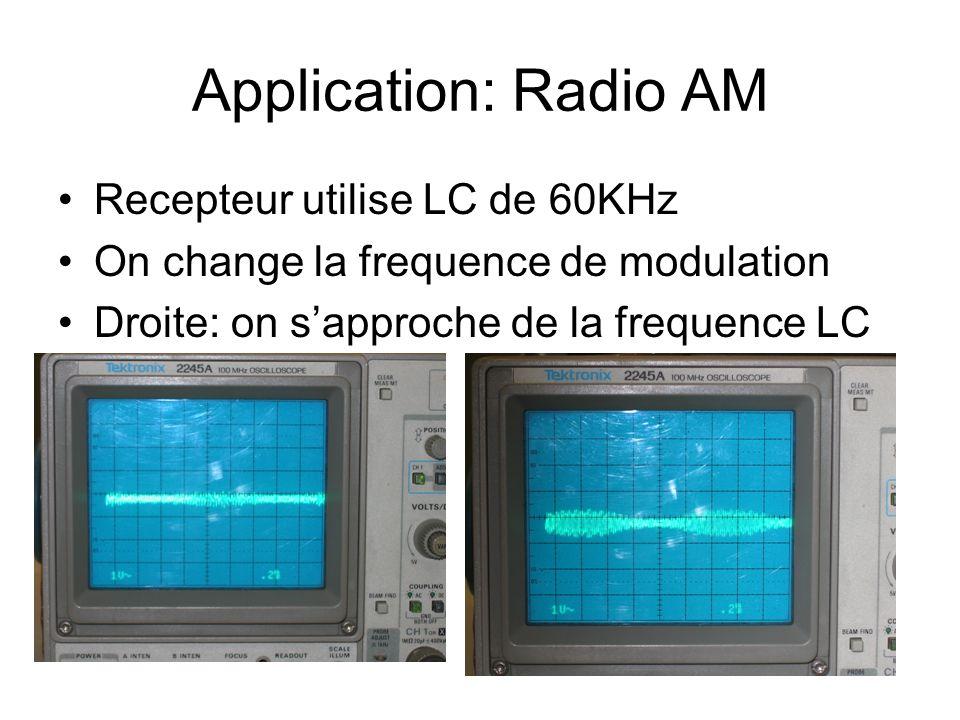 Application: Radio AM Recepteur utilise LC de 60KHz On change la frequence de modulation Droite: on sapproche de la frequence LC