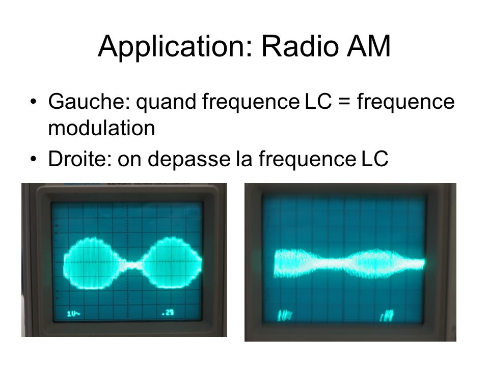 Application: Radio AM Gauche: quand frequence LC = frequence modulation Droite: on depasse la frequence LC