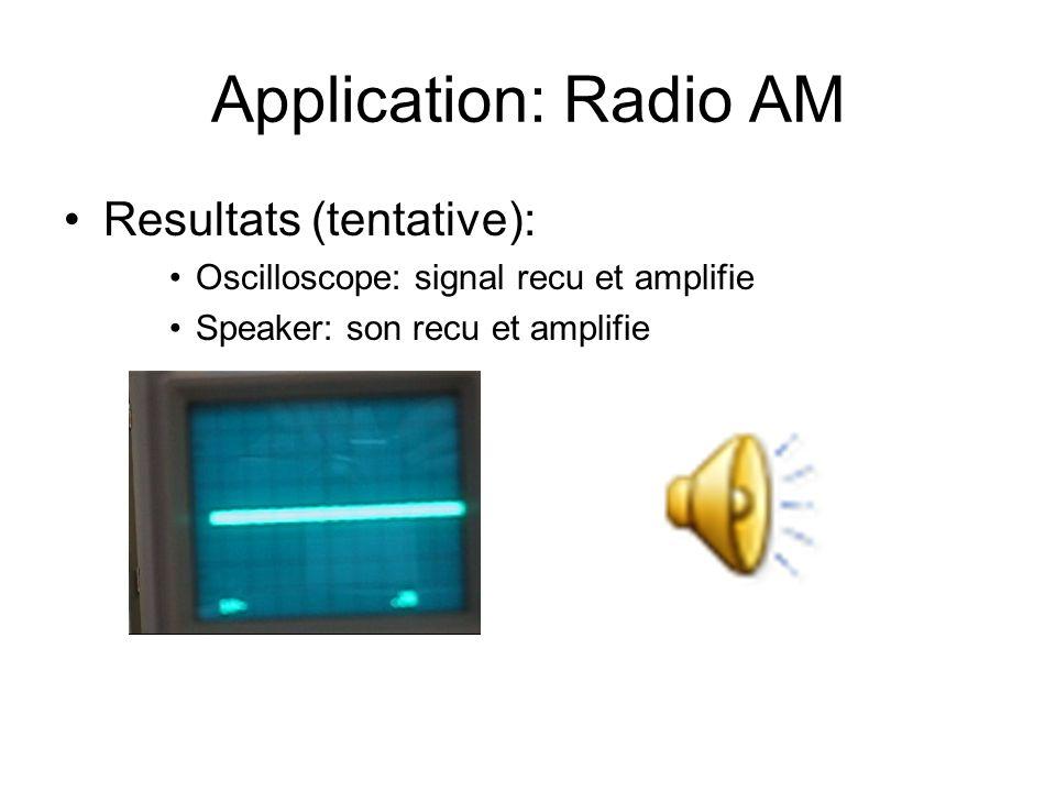 Application: Radio AM Resultats (tentative): Oscilloscope: signal recu et amplifie Speaker: son recu et amplifie