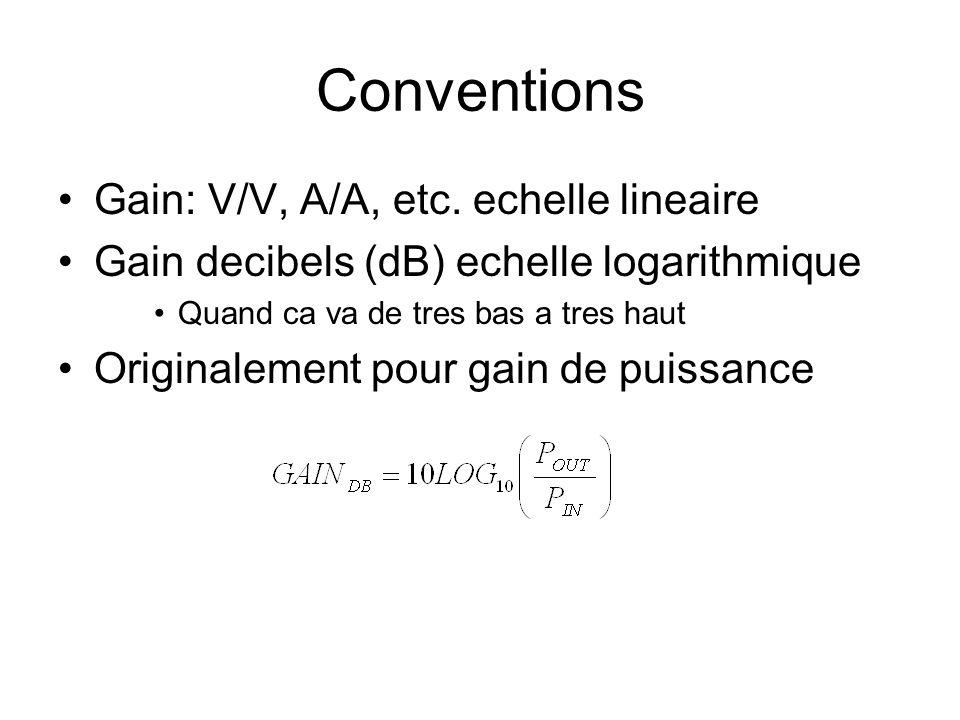 Conventions Gain: V/V, A/A, etc. echelle lineaire Gain decibels (dB) echelle logarithmique Quand ca va de tres bas a tres haut Originalement pour gain