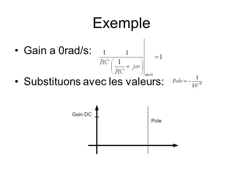 Exemple Gain a 0rad/s: Substituons avec les valeurs: