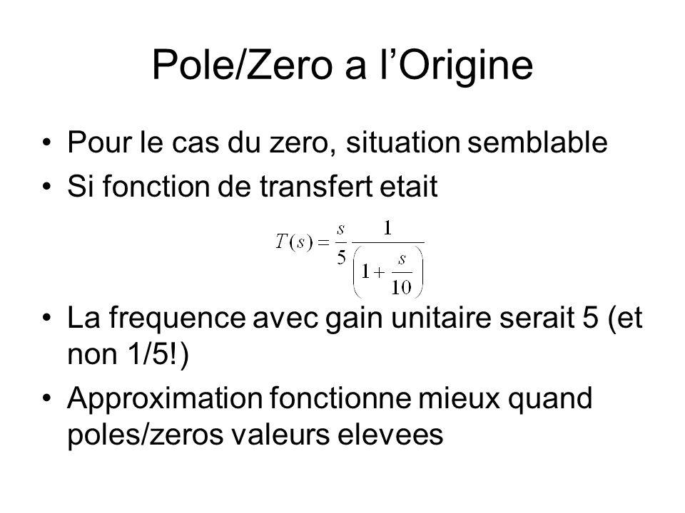 Pole/Zero a lOrigine Pour le cas du zero, situation semblable Si fonction de transfert etait La frequence avec gain unitaire serait 5 (et non 1/5!) Approximation fonctionne mieux quand poles/zeros valeurs elevees