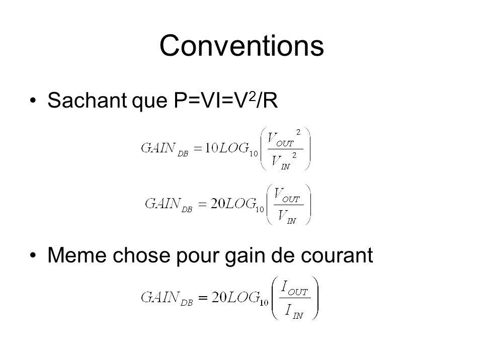 Conventions Sachant que P=VI=V 2 /R Meme chose pour gain de courant