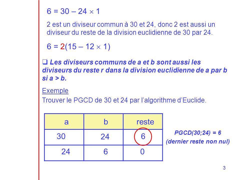 3 6 = 30 – 24 1 2 est un diviseur commun à 30 et 24, donc 2 est aussi un diviseur du reste de la division euclidienne de 30 par 24.