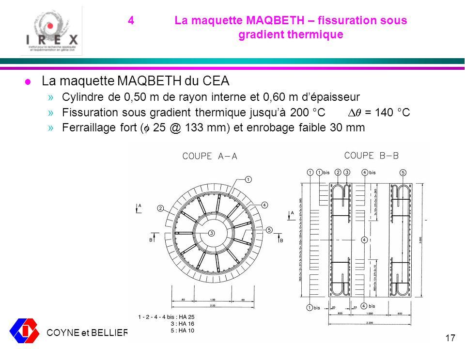 COYNE et BELLIER CEOS fr – 17 mars 200917 4La maquette MAQBETH – fissuration sous gradient thermique l La maquette MAQBETH du CEA »Cylindre de 0,50 m de rayon interne et 0,60 m dépaisseur »Fissuration sous gradient thermique jusquà 200 °C = 140 °C »Ferraillage fort ( 25 @ 133 mm) et enrobage faible 30 mm