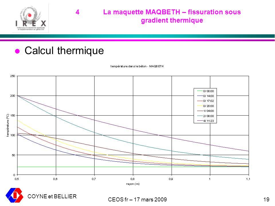 COYNE et BELLIER CEOS fr – 17 mars 200919 4La maquette MAQBETH – fissuration sous gradient thermique l Calcul thermique