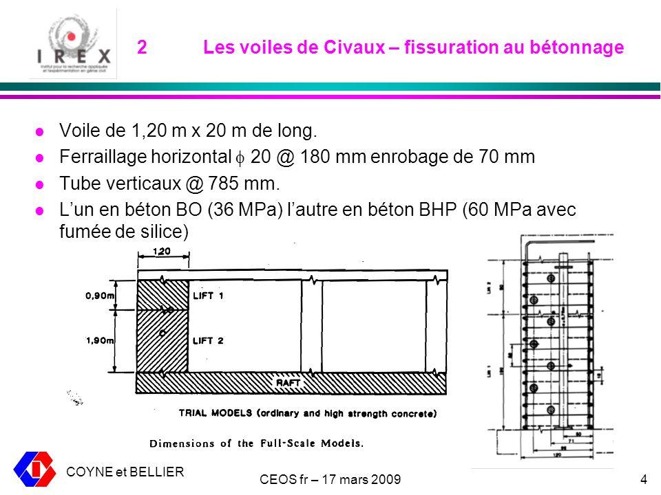 COYNE et BELLIER CEOS fr – 17 mars 20094 2Les voiles de Civaux – fissuration au bétonnage l Voile de 1,20 m x 20 m de long.