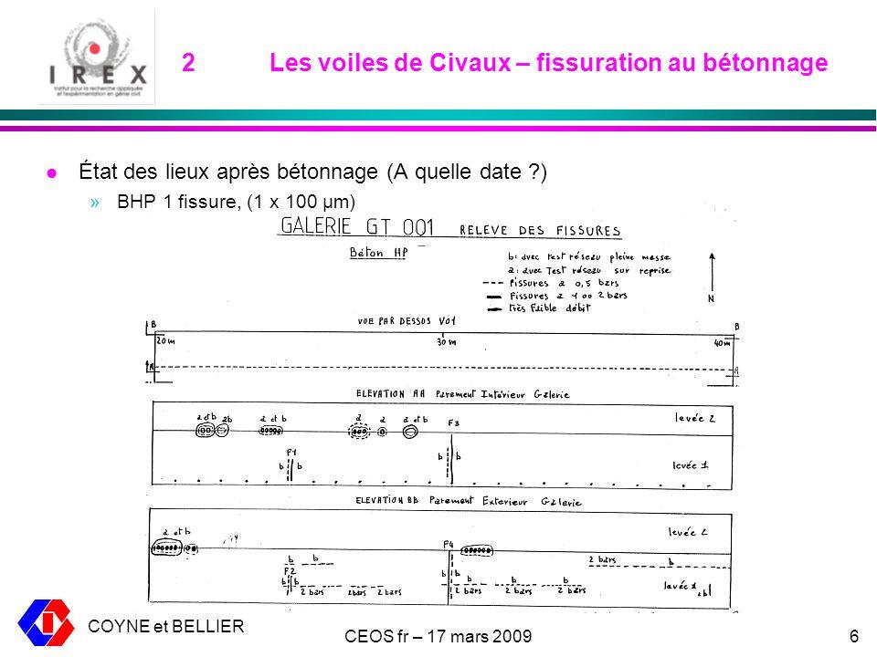 COYNE et BELLIER CEOS fr – 17 mars 20096 2Les voiles de Civaux – fissuration au bétonnage l État des lieux après bétonnage (A quelle date ?) »BHP 1 fissure, (1 x 100 μm)