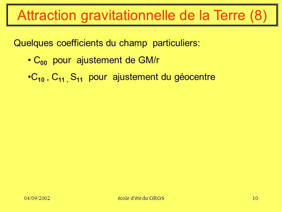 04/09/2002école d'été du GRGS10 Attraction gravitationnelle de la Terre (8) Quelques coefficients du champ particuliers: C 00 pour ajustement de GM/r