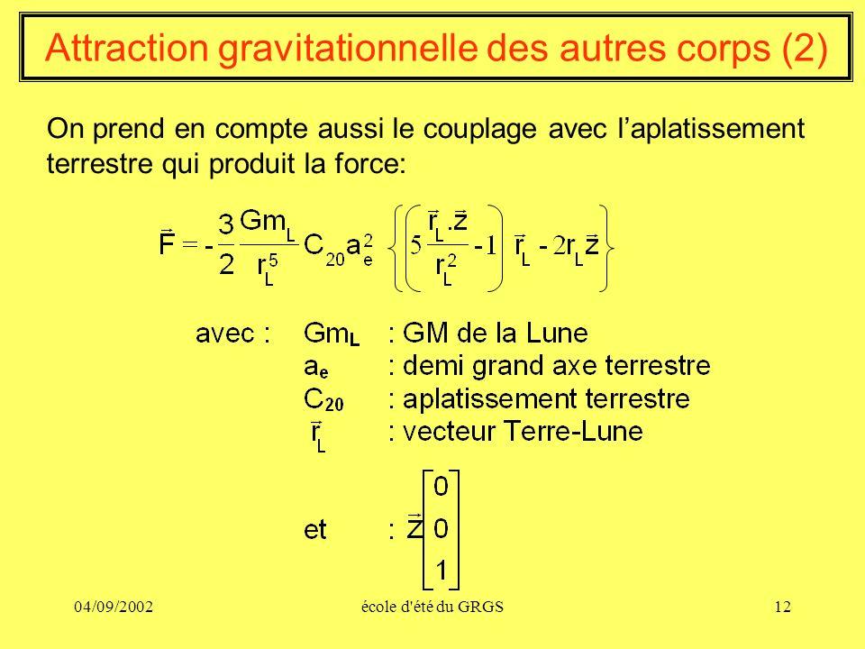 04/09/2002école d'été du GRGS12 Attraction gravitationnelle des autres corps (2) On prend en compte aussi le couplage avec laplatissement terrestre qu